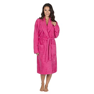 Storelines Ladies Shawl Collar Towelling Robe/Dressing Gown. White ...