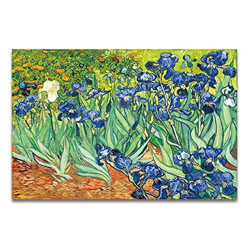 WSWWYBerühmte Maler Van Gogh Ölgemälde Sternenhimmel Iris Blume Sonnenaufgang Landschaft Leinwand Malerei Druckplakat Malerei Wanddekoration (Druck) A4 60x80 cm Kein Rahmen