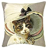 Gobelin Kissen Katze mit Perlenkette