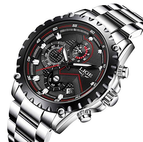 Orologi da uomo lusso sport moda business orologi da polso impermeabile in acciaio inox cronografo datario quadrante nero