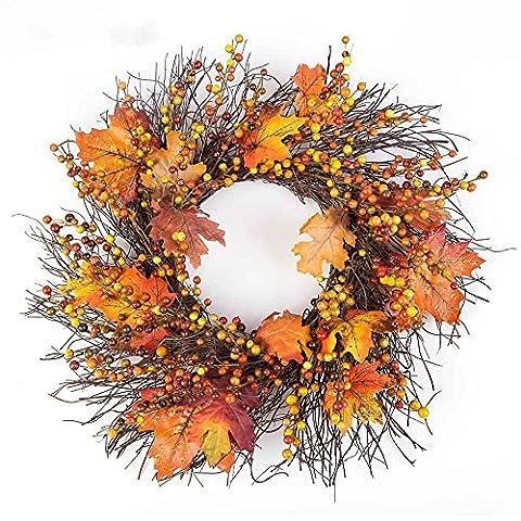 Frashing Innendekoration,50cm Berry Maple Leaf Fall Door Wreath Door Wall Ornament for Thanksgiving Day Beeren Ahornblatt Erntedank Tag Dekorative Girlanden