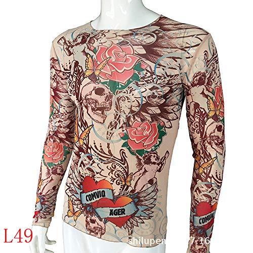 Kostüm Bioshock - tzxdbh Tattoo Tattoo Langarm T-Shirt Damen Fan Digitaldruck Boden Shirt Musik Festival Kostüm L49 49 Print 170CM-182CM 60KG-110KG