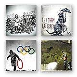 Banksy Bilder Set E, 4-teiliges Bilder-Set jedes Teil 29x29cm, Seidenmatte Optik auf Forex, moderne schwebende Optik, UV-stabil, wasserfest, Kunstdruck für Büro, Wohnzimmer, XXL Deko Bild
