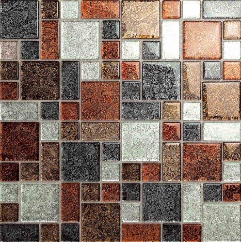 Autumn Hong Kong Foil Modular Mix Glass Mosaic Tiles Sheet (MT0064) (1 Sheet)
