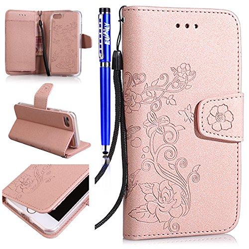 iPhone 6 Plus/iPhone 6s Plus (5.5) Custodia Cover, EUWLY Portafoglio Custodia Premium PU Leahter Protettiva Cover Case Per iPhone 6 Plus/iPhone 6s Plus (5.5), Goffratura Fiore Farfalla Modello PU Pe Oro Rosa