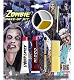 Video Delta Zombie Make-up-Set, für Halloween, Blut, flüssiges Latex, Malkreide, Bürste, Schwamm