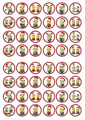 , 48 Weihnachten Schergen, Essbare PREMIUM Dicke GEZUCKERTE Vanille, Reispapier Mini Cupcake Toppers, Cake Pops, Cookies für Wafer (Minions Weihnachten Dekorationen)