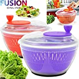 Large Salad Spinner Leaf Dryer Drying Lettuce Veg Drainer Dressing Herb Water (FUSION) (TM)