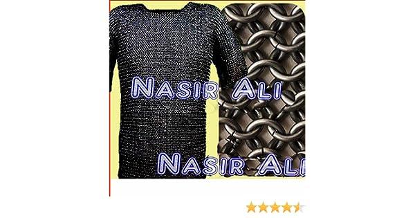 Coiffe Cha/îne Mail pour homme Noir Large SCA m/édi/éval jaseron Haubert Armour Costume