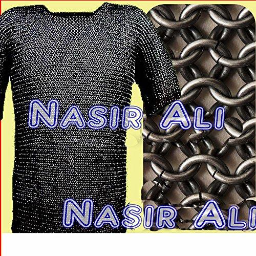 konifizierte Kette mail Shirt schwarz groß SCA Mittelalter Kettengeflecht Kettenhemd Armor Kostüm (Kettenhemd Kostüm Shirt)