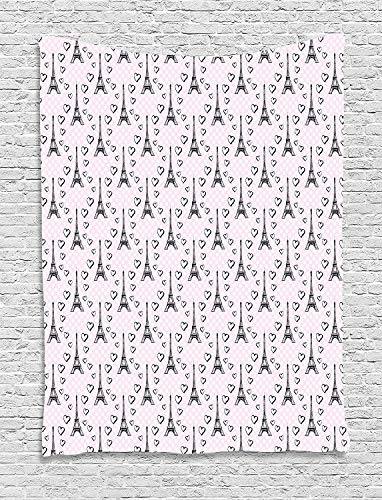 """TRUIOKO Eiffel Tapestry, Polka Dot Pattern with Sketchy Eiffel Tower Figures and Romantic Hearts, Wall Hanging for Bedroom Living Room Dorm Wall Tapestry Decor,80"""" X 60"""" Inches, Pale Pink Black Whit"""