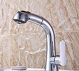 PEIWENIN-Bad Toilette Pull-Typ Wasserhahn Becken heiß und kalt kann angehoben werden versenkbare Shampoo drehbare Waschbecken Bad Schrank plus hohen Wasserhahn, B