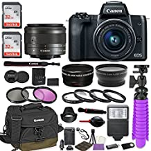 Canon EOS M50 Mirrorless Digital Camera (Black) Premium Accessory Bundle With EF-M 15-45mm Is STM Lens (Graphite) + Canon Water Resistant Case + 64GB Memory + HD Filters + Auxiliary Lenses