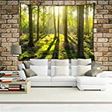 QEES Grüner Wald Wandteppich aus leichtem Polyster Wandtuch Wandbehang Wand Dekoration Tischdecke Strandtuch Schöne Wanddeko Spezielles Gefühl bringen GT07 (Wald 2)