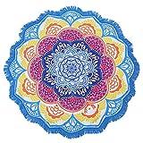 Ronda toalla de playa borla de Decor con grande redondo patrón de flor de loto Mandala tapiz 150* 150cm circular mantel Yoga picnic mat
