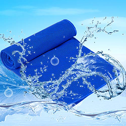 Summer Cooling Towel,Sport Fitness Install Cool Towels Cold for Women Men Kids Chilling Relief Neck Wrap,Instant Relief for Kids Hot Flashes Cold Hot Therapy (A-Dark Blue)