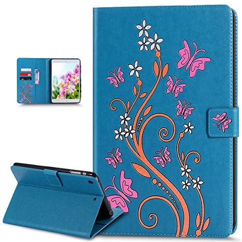Kompatibel mit iPad mini Hülle,iPad mini Schutzhülle,Bunte Gemalt Prägung Schmetterlings Blumen PU Lederhülle Flip Hülle Cover Ständer Etui Wallet Tasche Case Schutzhülle für iPad mini 1/2/3,Blau