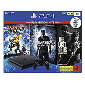 PlayStation 4 Konsole (1TB) inkl. 1 DualShock 4 Controller + PlayStation Hits (The Last of US Remastered + Uncharted 4…
