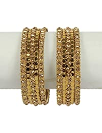 MUCH MORE Beautiful Charm Look 18k Gold Plated Metal Bangle Set For Girls & Women