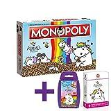 Monopoly Pummeleinhorn Brettspiel Gesellschaftsspiel Einhorn Spiel Deutsch NEU (mit Top Trumps und Kartenspiel Pummeleinhorn)
