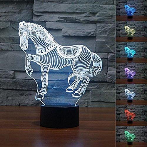 Lampe 3D Illusion, SUAVER 7 changement de couleur 3D Acrylique Éclairage Tactile Lampe de Table pour Atmosphère Décoration (Cheval)