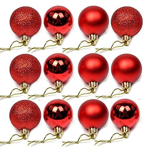 24 Stück 4cm Mini Ornament Kugeln für Weihnachten Weihnachtsbäume Hochzeitsfeste Baum DIY-Dekorationen Rote
