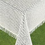 Schwar Textilien Gartentischdecke Tischdecke Weichschaummaterial Rutschfest wetterfest 4 Farben 6,99 Rustikal (130cm rund, Beige/Weiß)