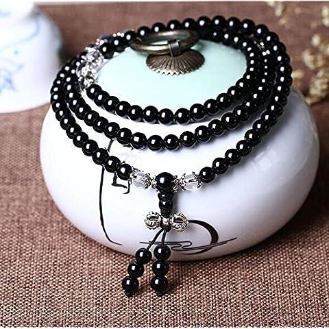 XJoel Mujer Hombre fresco Negro Mate ágata Gems 0.24 108 perlas pulsera del estiramiento de la curación del balance energético de la perla y negro Negro