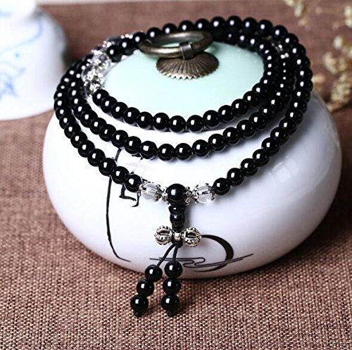 Preisvergleich Produktbild XJoel der Frauen Männer Cool Black Matte Achat Gems 0,24 Zoll 108 Perlen Stretch-Armband Healing Energy Balance Perlen Schwarz Weiß