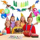 SPECOOL Palloncini Dinosauro, Palloncini Dinosauro Banner Buon Compleanno, 10 Palloncini Dinosauro, 8 Nappa Verde, 2 pacchi Adesivi Dinosauro per Bomboniere e Dinosauro Decorazioni per feste