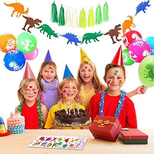 SPECOOL Dinosaurier Balloons, Dinosaurier Balloons Alles Gute zum Geburtstag Banner, 10 Dinosaurier Luftballons, 8 grüne Quaste, 2 Packs Dinosaurier Aufkleber für Dinosaurier Party Supplies