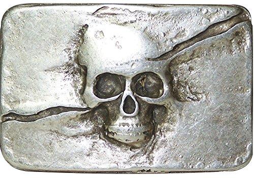 FRONHOFER Totenkopf Gürtelschnalle altsilber, 4 cm, Skull Buckle, Totenkopfschnalle 18055, Farbe:Silber, One Size:One Size