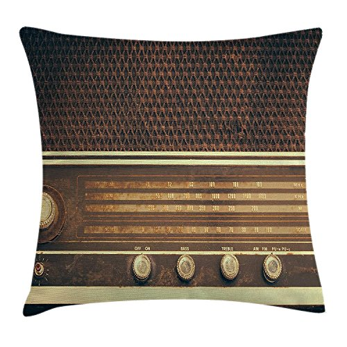 Vintage Decor Throw Pillow Cushion Cover, Old Antique Retro 60s Radio Music Player Loudspeakers Buttons Image, Decorative Square Accent Pillow Case, 18 X 18 Inches, Brown and White