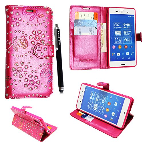 Preisvergleich Produktbild Sony Xperia XA HÜLLE, Kamal Star® PU LEDER CASE COVER HÜLLE ETUI TASCHE SCHALE + STYLUS (Rose Pink Diamond Book)
