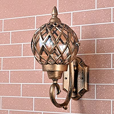 Modeen Classic Brass Color Rustic Waterproof Traditional Outdoor Wall Light Hallway Winter Garden Balcony Porch Wall Lamp Wall Sconce Glass Lantern With E27 Light Source Fitting by Modeen