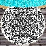 SKKMALL - Toalla de Playa Redonda Mandala Estampada con Manta India de Microfibra, Alfombra de