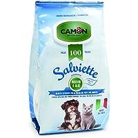 Camon Salviette Detergenti Per La Pulizia Del Pelo Fragranza Muschio E Aloe - 30x17 centimetres - Pezzi 100 Per Cani E…