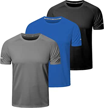 frueo 3 Pack Running Shirts Men Dry-Fit Sport Tops for Men Comfort Workout Shirts Moisture Wicking Active Athletic Shirts Short Sleeve Tops