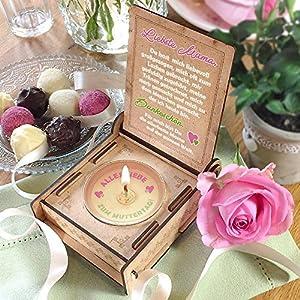 CANDLE IN THE BOX   Rosa   Geschenk-Box mit Botschaft & Kerze   Geschenk für Mama zum Geburtstag   Engel ohne Flügel nennt man Mama   Dankeschön für alles
