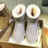 AGECC Damen Stiefel Bequeme Schöne Durable Super Flash Diamant Schnee Stiefel Warme Mädchen Rohr Dicke Unterseite Wasserdichte Baumwolle Stiefel, 40 Farbige Bohrmaschine