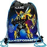 Unbekannt Sportbeutel - Turnbeutel - Schuhbeutel _  Transformers - Bumblebee / Roboter - The Last Knight  - incl. Name - abwischbar & wasserabweisend - für Kinder - S..