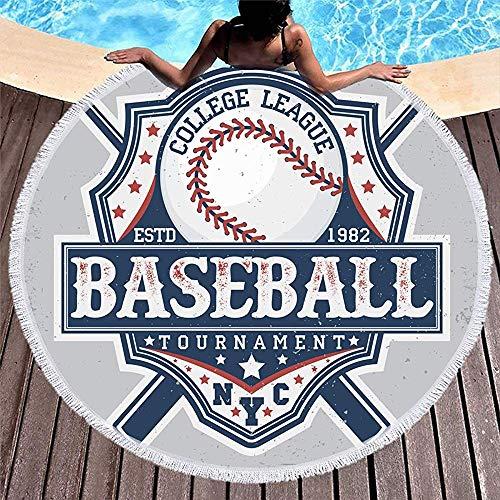 Drollpoe Runde Badetuch Quasten Emblem kreative Vintage Grafik Grange Beauty Baseball Sport Erholung Basketball Bat Jersey Fußball -