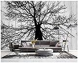 Lovemq Papier Peint Mural Papier Peint Mural Moderne Minimaliste Arbre Noir Et Blanc Salon Tv Fond Mur Décoration De La Maison 3D Papier Peint-200X130Cm