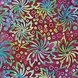 Gardine, Kunstseide, 100% Baumwolle Bali Batik tie dye Muster Stoff für Patchwork und Quilten–(Preis pro/Quarter M