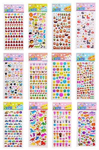 Lirener 12 stücke 3D Puffy Bubble Aufkleber mit Dinosaurier/Emoji/Herzen/Essen/Fisch/Kaninchen/Autos, 3D DIY Dekorative Aufkleber Klebeband Kinder Craft Scrapbooking Aufkleber Set für Diary, Album