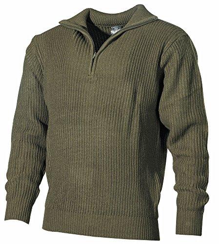 MFH Isländer Pullover, Troyer mit Reißverschluss, Oliv, X-Large