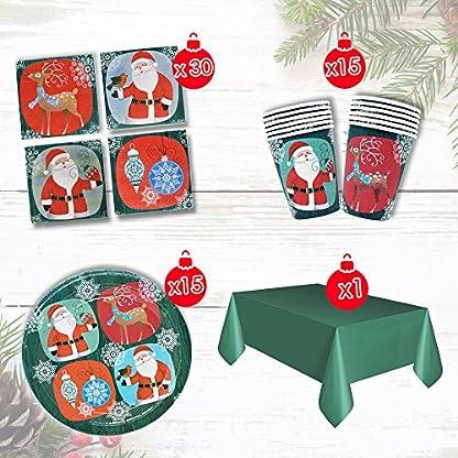 THE TWIDDLERS Vajilla Festiva para Fiesta de Navidad – Disenos Mesa Navidenos – Decoracion Desechable – Cena Vasos, Mantel, Platos y Servilletas