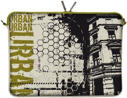 Digittrade LS152-17 Urban Disigner Laptopschutzhülle Notebooktasche 17,3 Zoll (43,9 cm) Notebook Sleeve Laptop Schutzhülle Tablet Tasche Stadt grau-grün