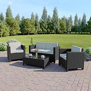 New ROMA Rattan Wicker Weave Garden Furniture Patio Conservatory Sofa Set INCLUDES PROTECTIVE COVER (Black)