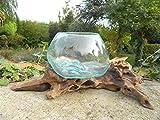 Melted Glass on Wood Bowl Vase Tealight Holder Terrarium Trinket Bowl - Design G